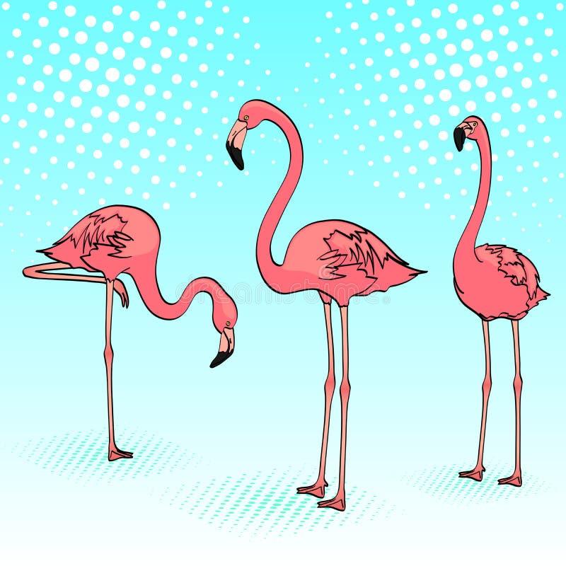 Fondo del arte pop Tres flamencos rosados en el mar azul, pájaros descansan la trama libre illustration