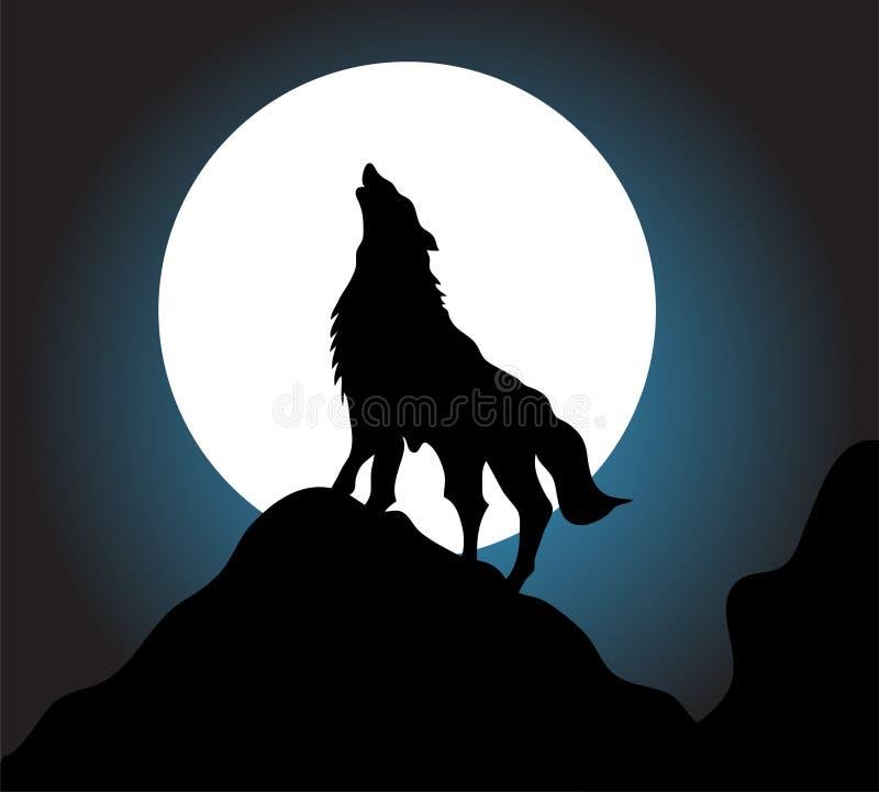 Fondo del aullido del lobo stock de ilustración