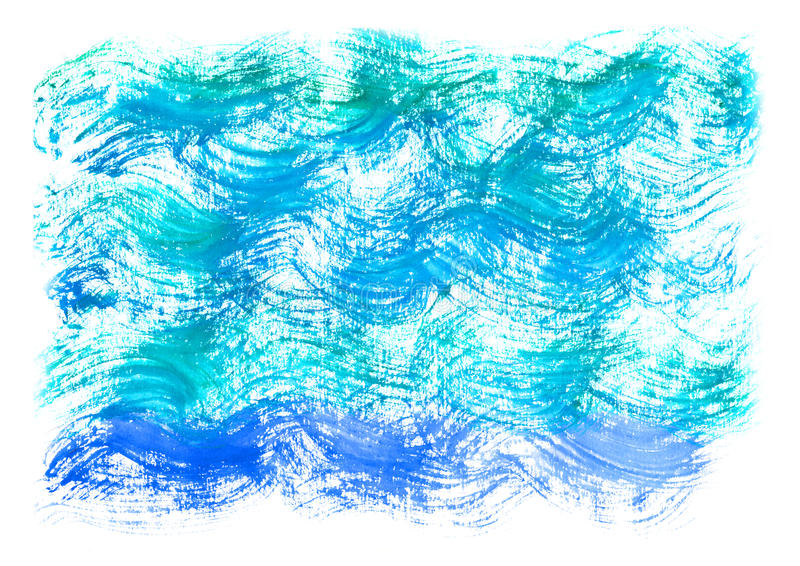 Fondo del azul de la acuarela Onda artística del mar de la acuarela, agua, cielo stock de ilustración