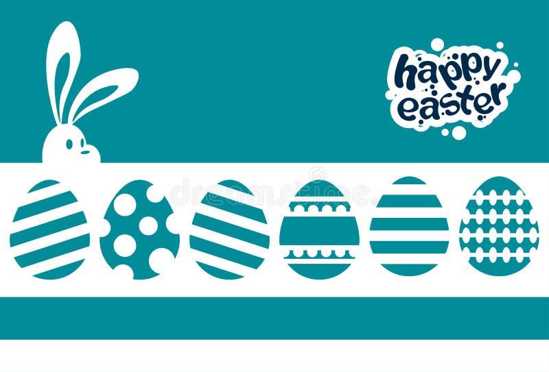 Fondo del azul de la tarjeta de felicitación de la bandera del día de fiesta de Bunny Painted Eggs Happy Easter del conejo stock de ilustración