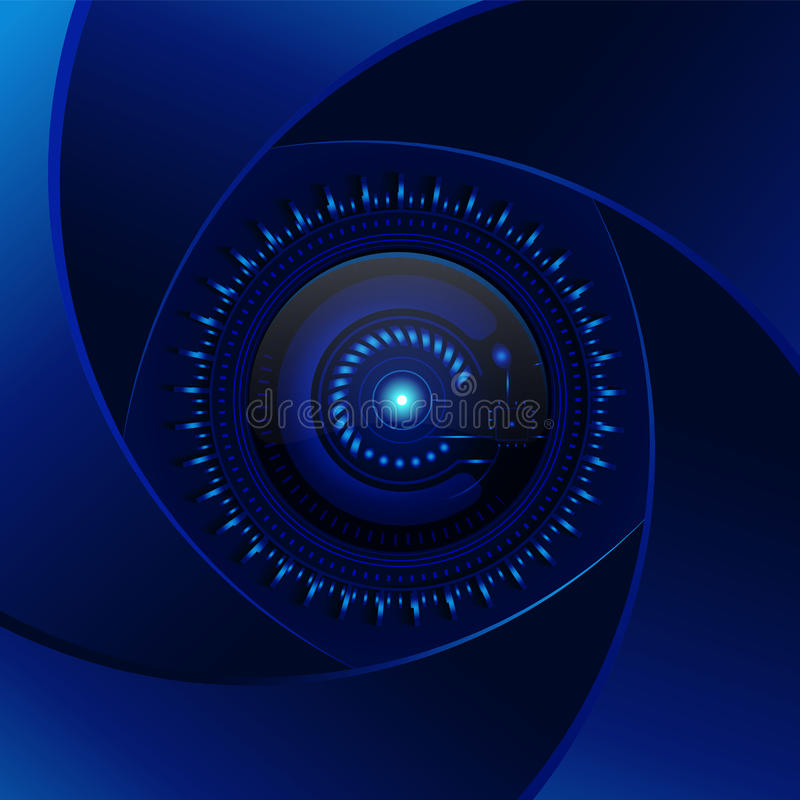 Fondo del azul de la tecnología Lente ciánica de la abertura Diseño moderno v libre illustration