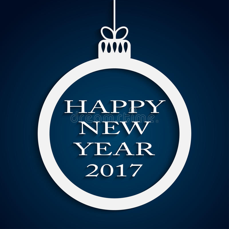 Fondo del azul del Año Nuevo Bola de la Navidad 2017 ilustración del vector