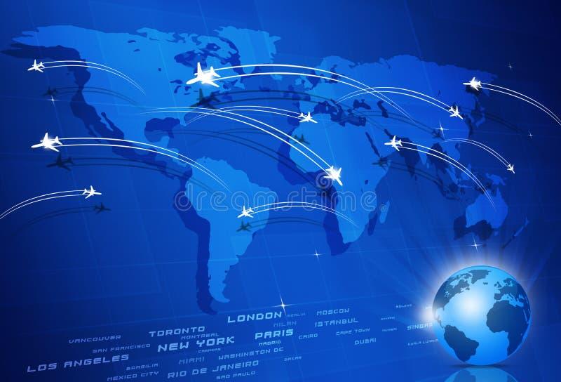 Fondo del azul del concepto de Global Aviation stock de ilustración