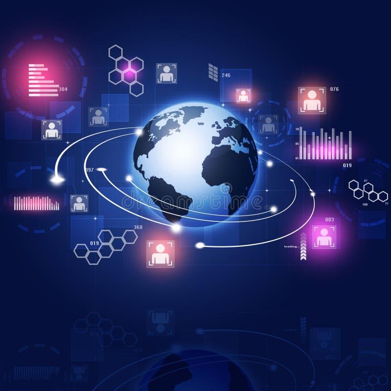 Fondo del azul del concepto del interfaz de la tecnología libre illustration