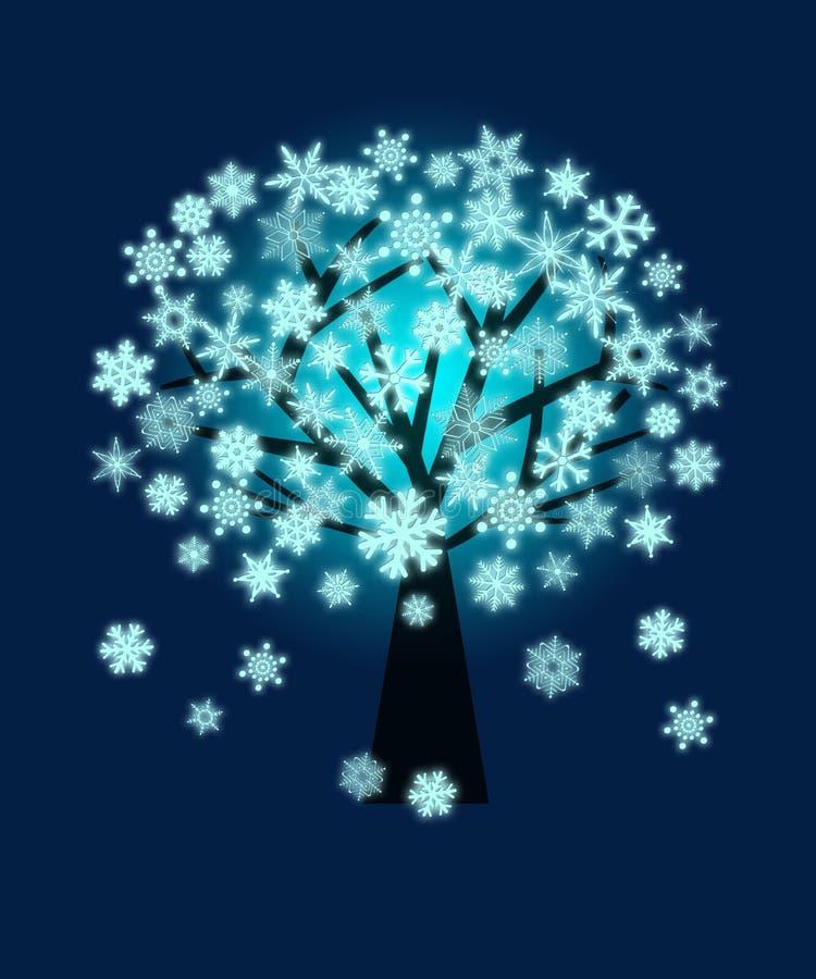 Fondo del azul del invierno del árbol de los copos de nieve de la Navidad stock de ilustración