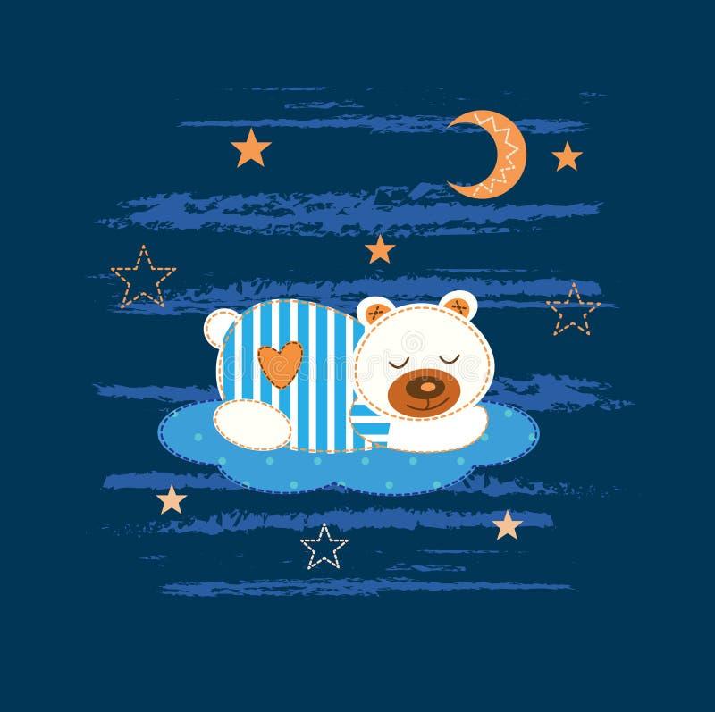 Fondo del bambino con l'orso di sonno illustrazione vettoriale