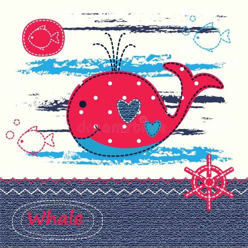 Fondo del bambino con la balena sveglia illustrazione vettoriale