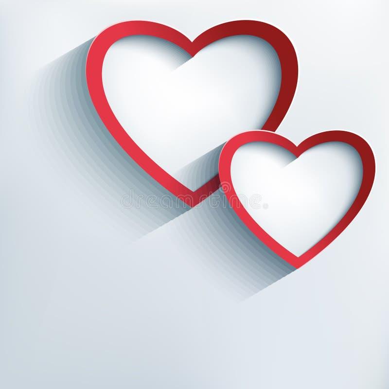 Fondo del biglietto di S. Valentino con due cuori alla moda 3d illustrazione vettoriale