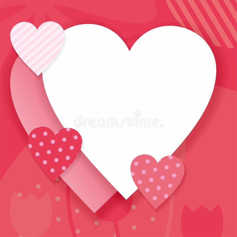 Fondo del biglietto di S. Valentino con forma del cuore e colore rosa illustrazione vettoriale