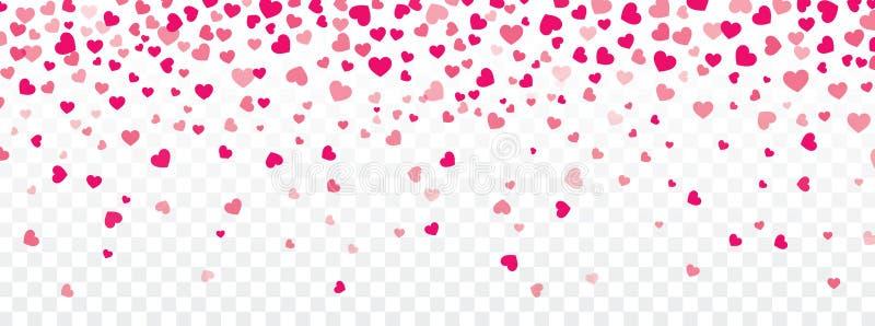 Fondo del biglietto di S. Valentino con i cuori che cadono su trasparente illustrazione di stock