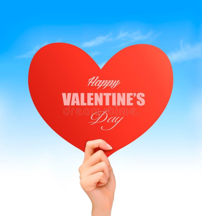 Fondo del biglietto di S. Valentino di festa con la mano che tiene cuore rosso royalty illustrazione gratis