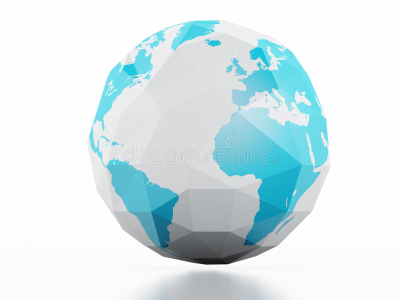 Fondo del blanco de la tierra del planeta Imagen polivinílica baja 3d stock de ilustración