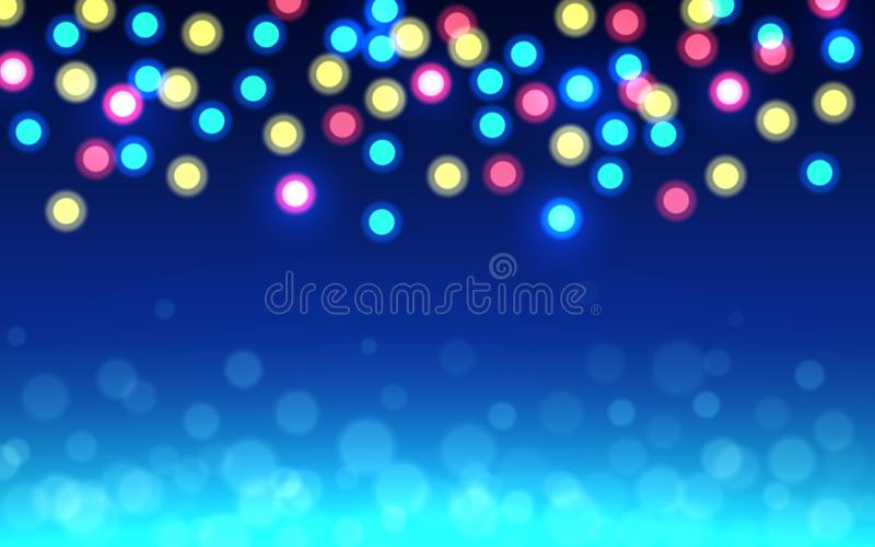 Fondo del bokeh de la Navidad Luces defocused del color en el contexto azul Círculos brillantes abstractos Resplandor suave Unfoc libre illustration