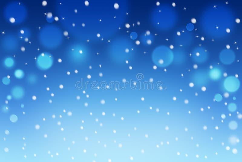 Fondo del bokeh de la nieve abstracta de la Navidad y del invierno con los copos de nieve y las estrellas libre illustration
