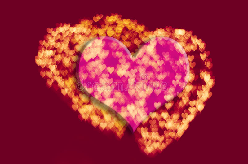 Fondo del bokeh del corazón, concepto del amor, escenas de la noche, color foto de archivo libre de regalías