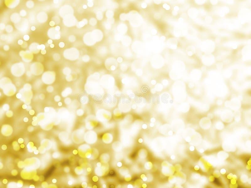 Fondo del bokeh della luce dell'estratto dell'oro, facula circolare fotografia stock