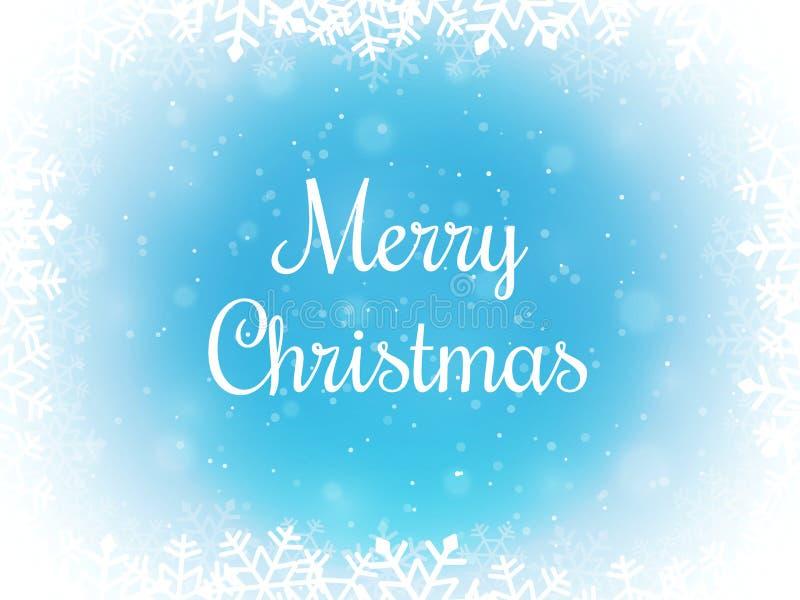 Fondo del bokeh di Buon Natale Confine del fiocco di neve e della neve Contesto di inverno Illustrazione di vettore immagini stock libere da diritti