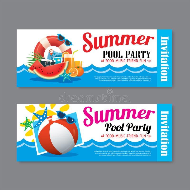 Fondo del boleto de la invitación de la fiesta en la piscina del verano ilustración del vector