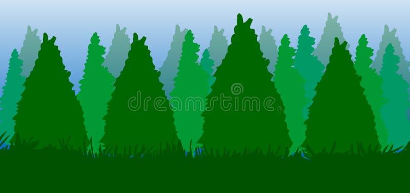 Fondo del bosque de los árboles, ejemplo del árbol de pino libre illustration