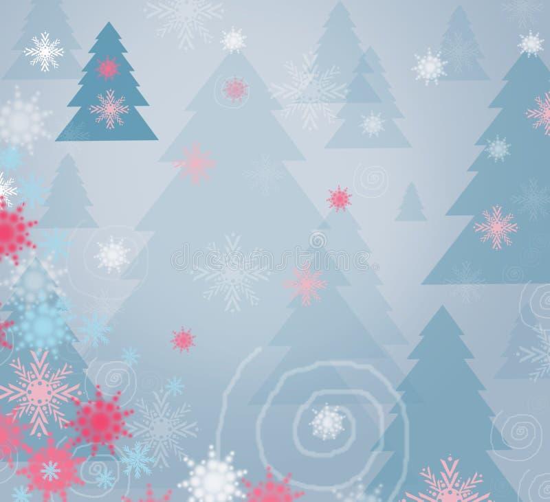 Fondo del bosque del invierno - tarjeta ilustración del vector