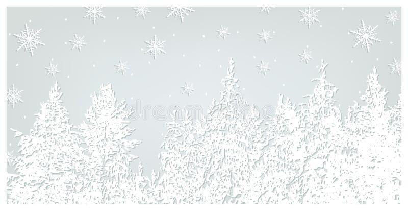 Fondo del bosque que nieva Árboles de navidad y copos de nieve en fondo azul Postal de la Navidad del vector y del Año Nuevo ilustración del vector