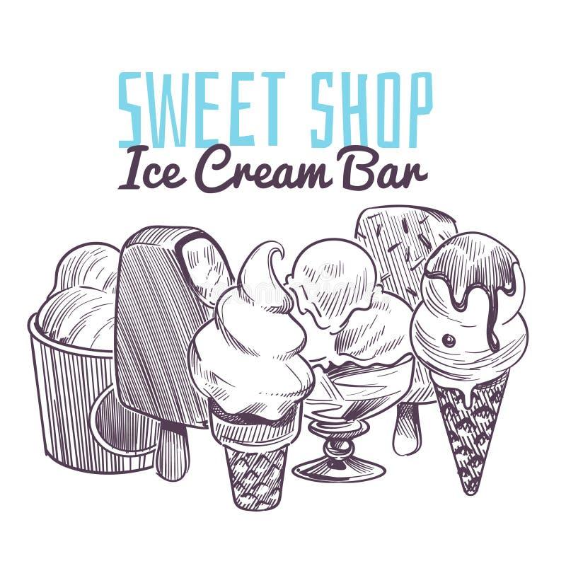 Fondo del bosquejo del helado Postres cremosos congelados exhaustos de la mano, nueces de las frutas del esmalte del chocolate de ilustración del vector