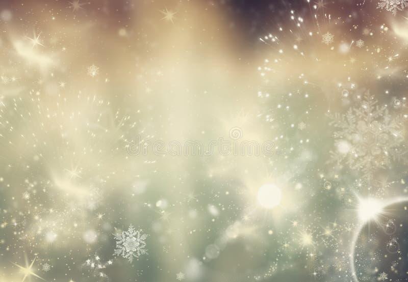 fondo del brillo del extracto del día de fiesta con las estrellas y caída del centelleo fotos de archivo