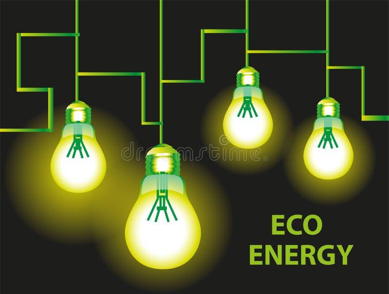 Fondo del bulbo de la energía de Eco ilustración del vector