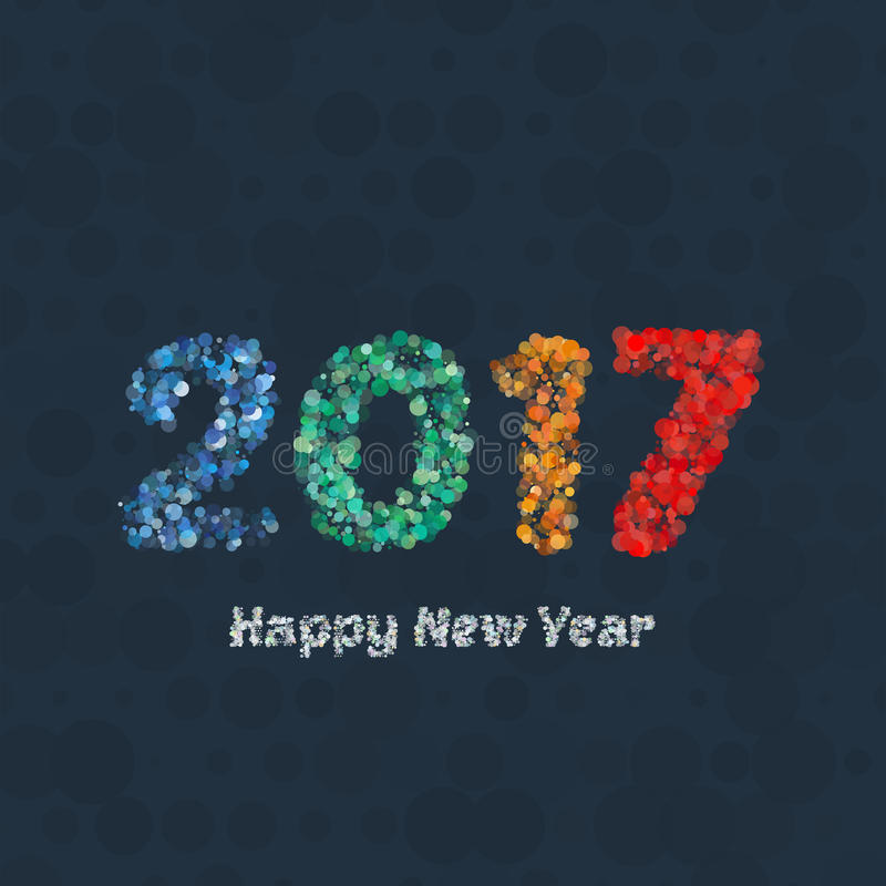 Fondo 2017 del buon anno Decorazione del calendario Cartolina d'auguri Modello cinese del calendario per l'anno di gallo illustrazione di stock