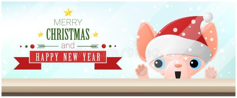 Fondo del buon anno e di Buon Natale con il gatto che esamina il piano d'appoggio vuoto royalty illustrazione gratis