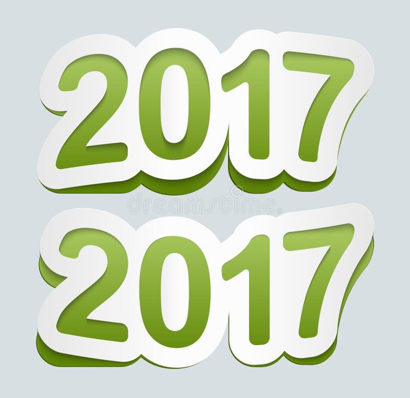 Fondo 2017 del buon anno Icona 2017 di vettore Segno curvo dagli autoadesivi di carta royalty illustrazione gratis