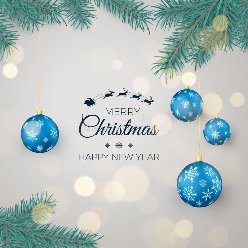 Fondo del buon anno per le cartoline d'auguri e le insegne stagionali Palle blu di Natale che appendono sui rami del pino illustrazione vettoriale