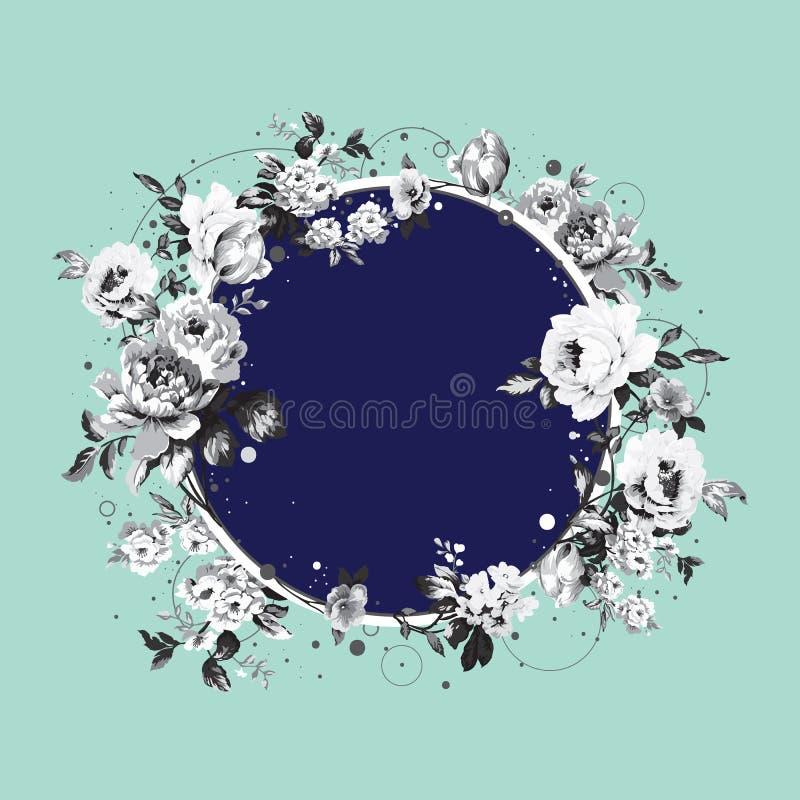 Fondo del círculo con las flores lamentables del vintage libre illustration