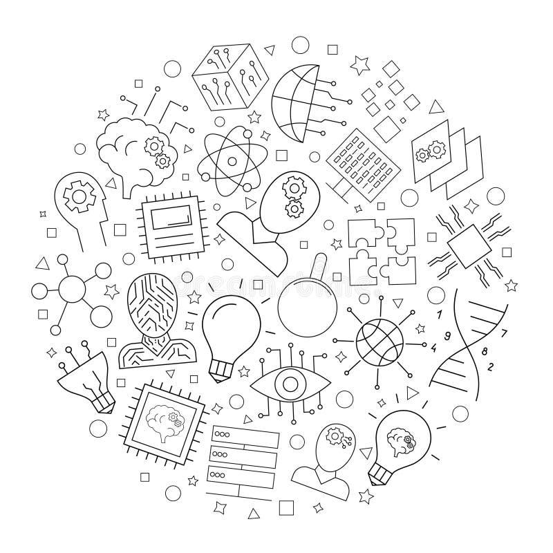 Fondo del círculo de la inteligencia artificial de la línea icono modelo linear del vector ilustración del vector