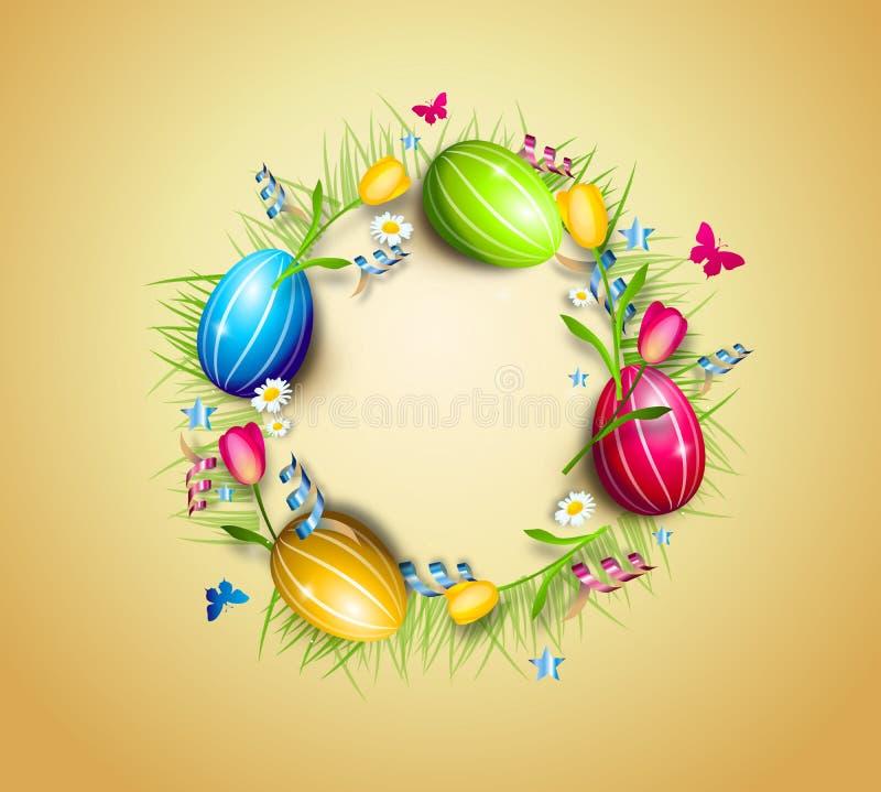 Fondo del círculo de los huevos de Pascua stock de ilustración