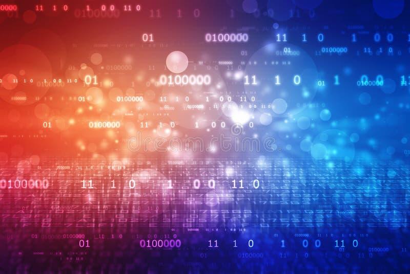 Fondo del código binario, fondo abstracto de la tecnología de Digitaces, fondo cibernético de la tecnología con códigos binarios ilustración del vector
