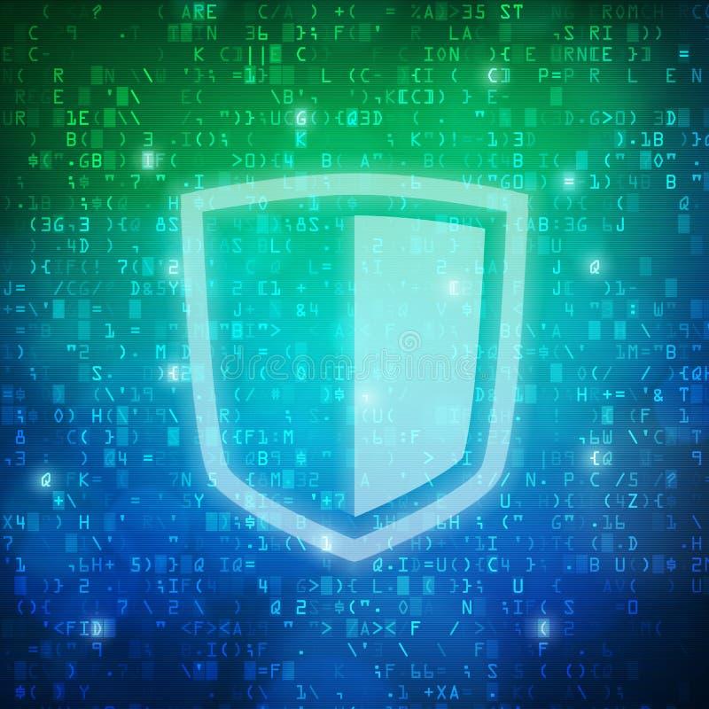 Fondo del código de datos digitales del ordenador del icono del escudo de la seguridad stock de ilustración