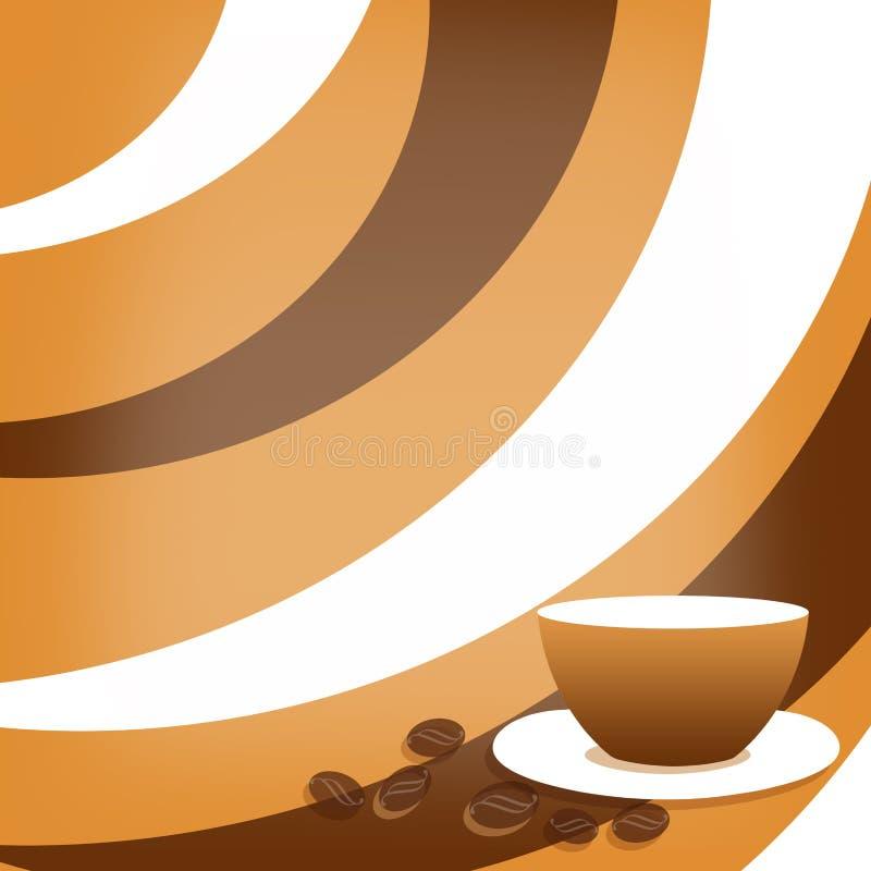 Fondo del caffè con i chicchi di caffè e della tazza illustrazione di stock
