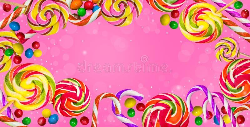 Fondo del caramelo Caramelos en un fondo rosado imágenes de archivo libres de regalías