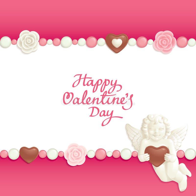 Fondo del caramelo de la tarjeta del día de San Valentín stock de ilustración