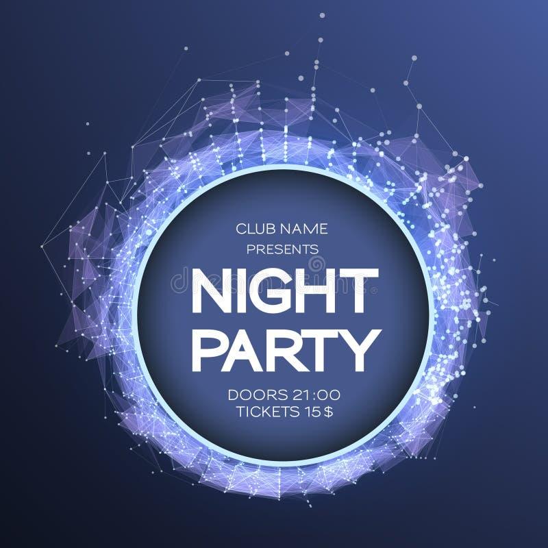 Fondo del cartel de la danza del partido de la noche Flayer de la celebración del evento Estilo futurista de la tecnología Datos  ilustración del vector