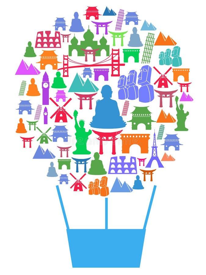 Fondo del cartel del balón de aire de la señal del viaje libre illustration