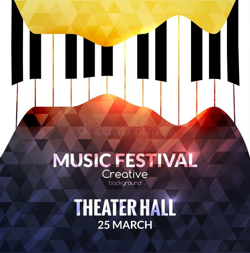 Fondo del cartel del festival de música Cartel promocional del café de la música del piano del jazz stock de ilustración