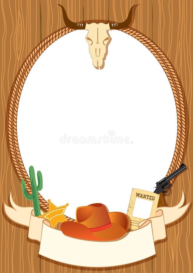 Fondo del cartel del vaquero stock de ilustración