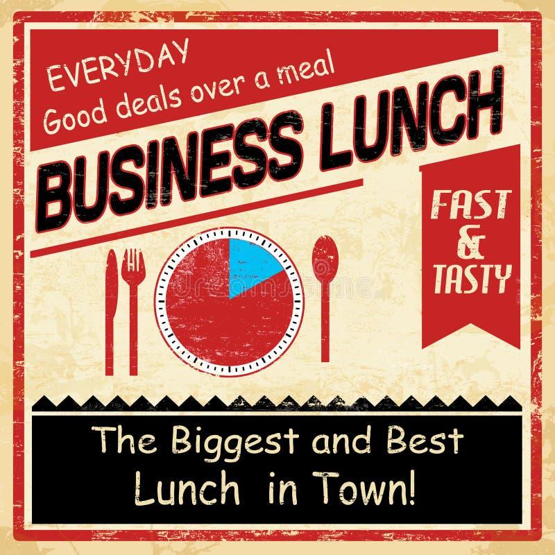 Cartel del grunge del almuerzo de negocios del vintage ilustración del vector
