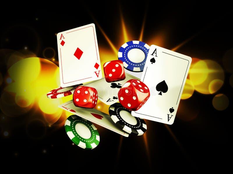 Fondo del casinò con le carte, i chip e le schifezze su luce intensa illustrazione 3D illustrazione di stock