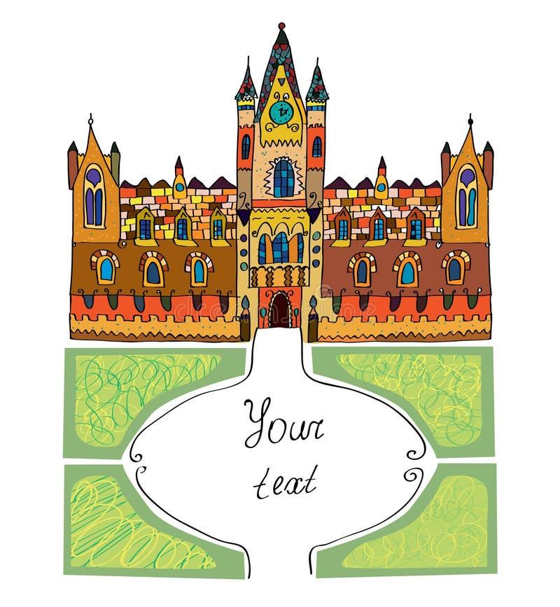 Fondo del castillo - ejemplo dibujado mano incompleta ilustración del vector