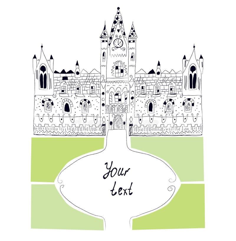 Fondo del castillo en estilo incompleto stock de ilustración