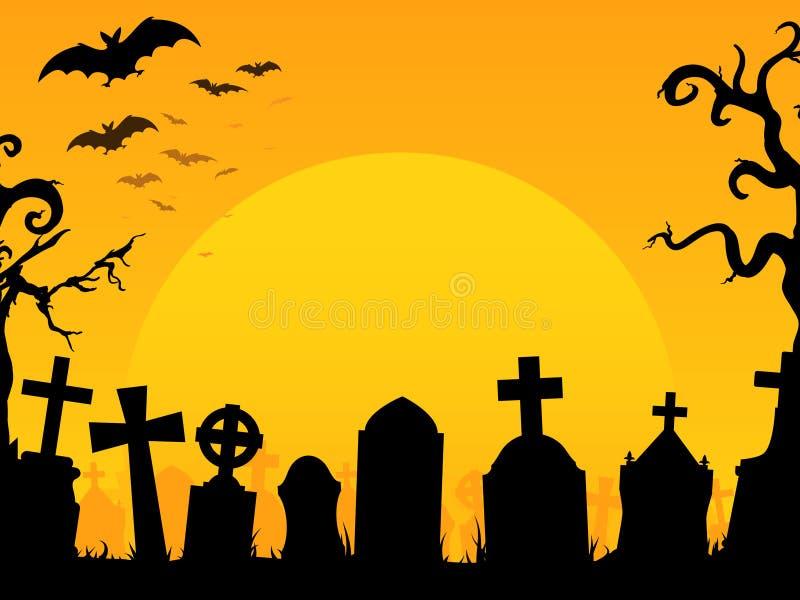 Fondo del cementerio de Víspera de Todos los Santos ilustración del vector