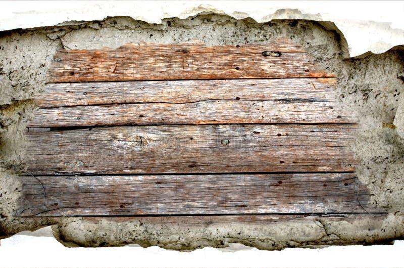 Fondo del cemento de madera y de la grieta foto de archivo libre de regalías